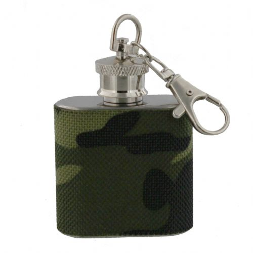 Minature Hipflask On Keychain -  Gift For Men Camoflauge Army Chrome Quality Keyring Hip Flask